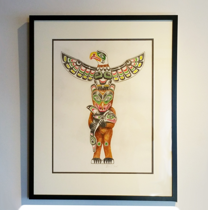 """Totem Pole Drawing, Pencil crayon on paper, 23"""" x 29"""", $3,000 CAD framed"""