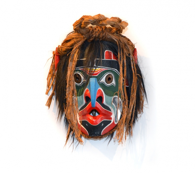 "Grouse, Beau Dick (Kwakwaka'wakw), Yellow cedar, acrylic paint and cedar bark, 17"" x 15"" x 8"", SOLD"