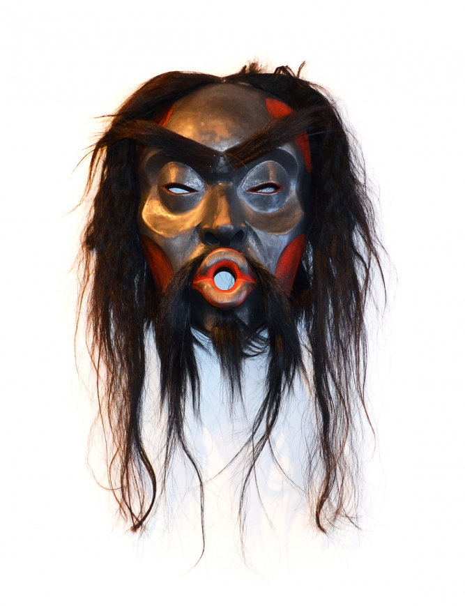 "Tsonokwa Mask, Beau Dick (Kwakwaka'wakw), Yellow cedar, acrylic paint and horse hair, 17"" x 9"" x 12"", SOLD"