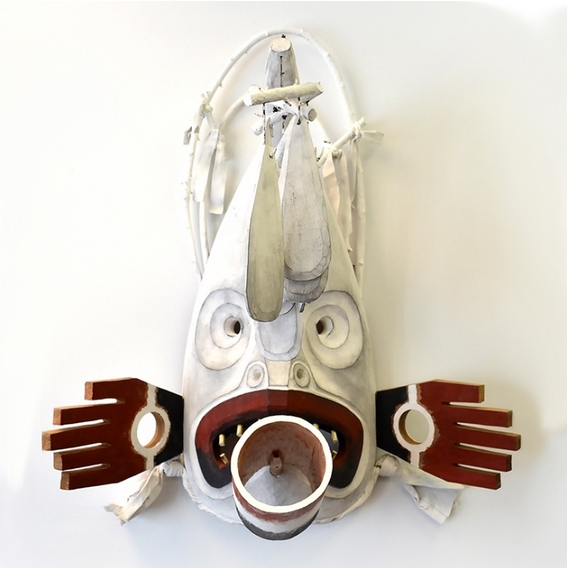 "Inuit Weather Mask, Beau Dick, Red Cedar & Acrylic, 30"" x 30"" x 19"", SOLD"