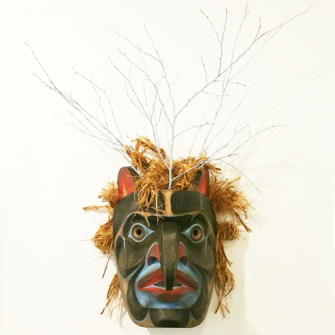 "Thunder Mask (2015), Beau Dick (Kwakwaka'wakw), Red Cedar & Acrylic, 22"" x 31"" x 17"" (including branches), SOLD"