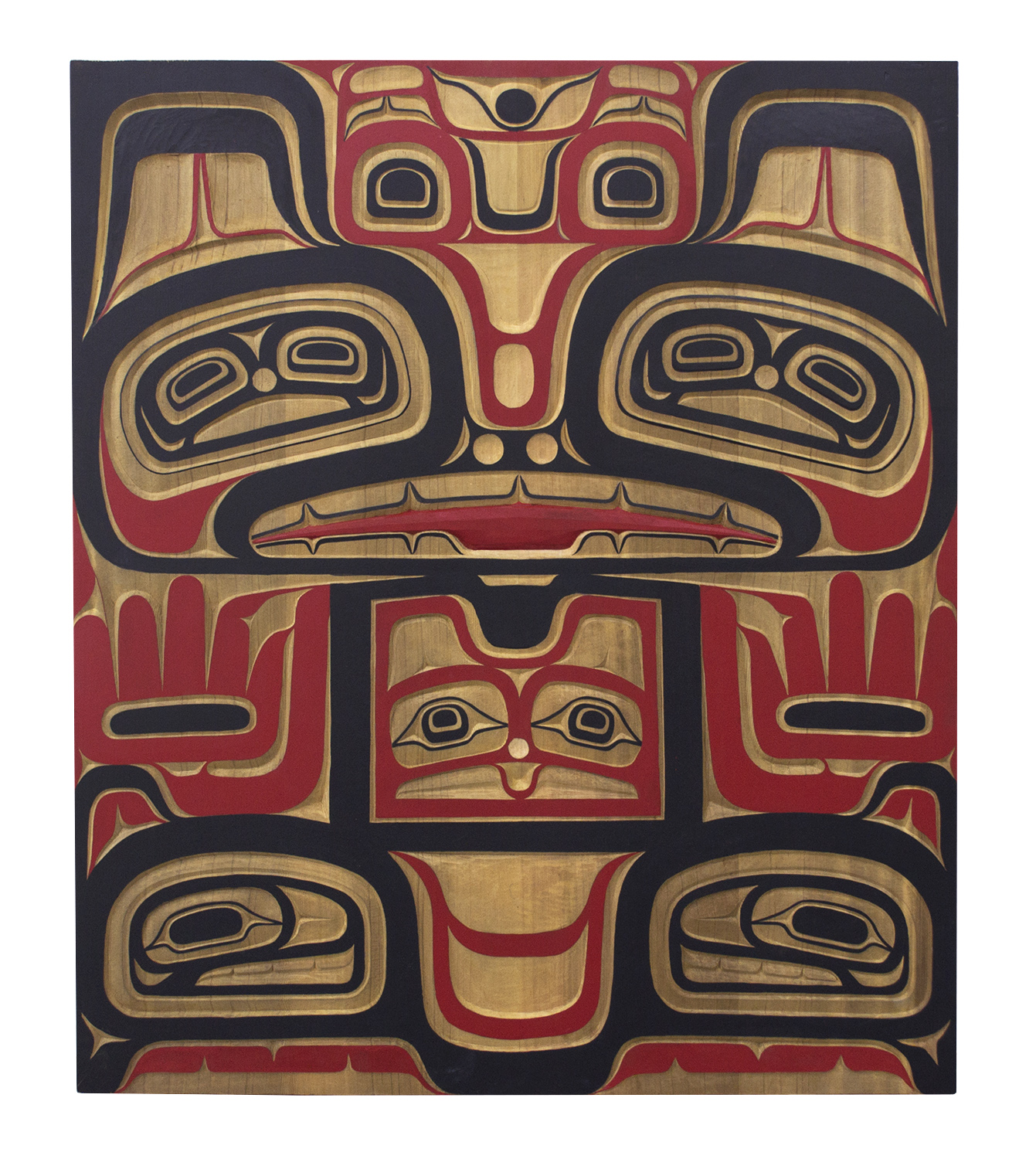 "Tlingit Bear Panel, 2017, Alan Hunt (Kwakwaka'wakw), Hand carved red cedar, acrylic, 36"" x 30"" x 2"", $7,000"