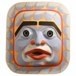 "Bella Coola Sky Mask, Beau Dick (Kwakwaka'wakw), Red cedar, acrylic & phosphorous paint, 39 1/2"" x 45"" x 12"", SOLD"