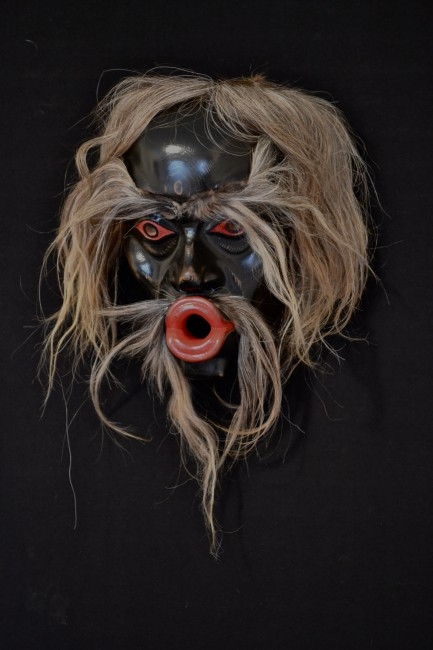 "Tsonaqua Mask, Beau Dick (Kwakwaka'wakw), Red cedar, acrylic paint and horse hair, 13"" x 11"" x 9"", SOLD"