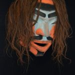 "Yaksim Bigwanum Ancestor Mask, Beau Dick (Kwakwaka'wakw), Red cedar, pigment and horse hair, 28"" x 28"" x 16"", SOLD"
