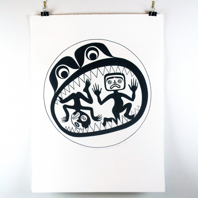 "Devoured by Consumerism, Beau Dick (Kwakwaka'wakw), Silkscreen serigraph ed. /88, 22"" x 30"", $500 unframed, signed BDE (Beau Dick Estate)"