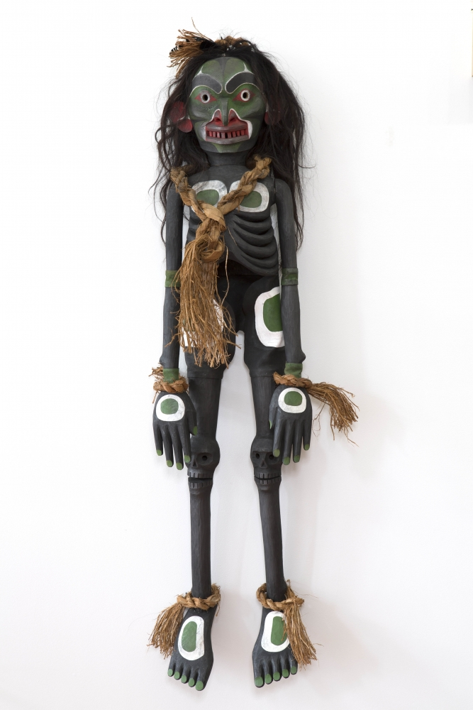 "Winalagalis (War Spirit) Puppet, 2015, Beau Dick (Kwakwaka'wakw), Red cedar, acrylic and Horse hair, 60"" x 20"" x 12"", $30,000 CAD"