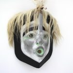 "Wind Mask, Beau Dick (Kwakwaka'wakw), Red cedar, acrylic paint, horsehair, feathers, 39"" x 24"" x 10"" including feathers, SOLD"