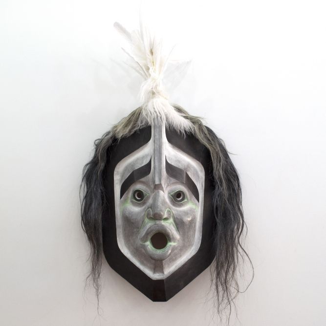 "Wind Mask, 2016, Beau Dick (Kwakwaka'wakw), Red cedar, acrylic paint, horsehair, feathers, 55"" x 24"" x 13"" (including feathers), 38.5"" x 24"" x 13"" (not including feathers)"
