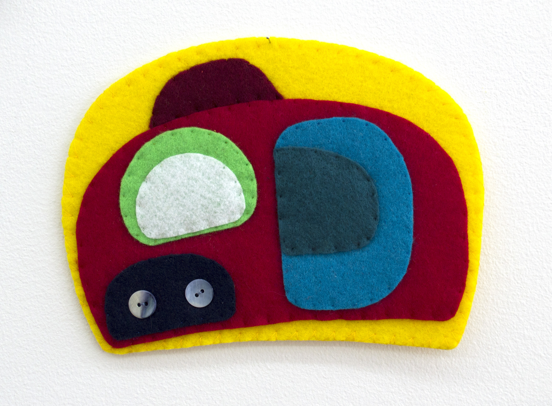 Ovoid Traces, Charlene Vickers (Anishnabe), Watercolour, paper, shell buttons, glass beads on felt with embroidery edges, $200