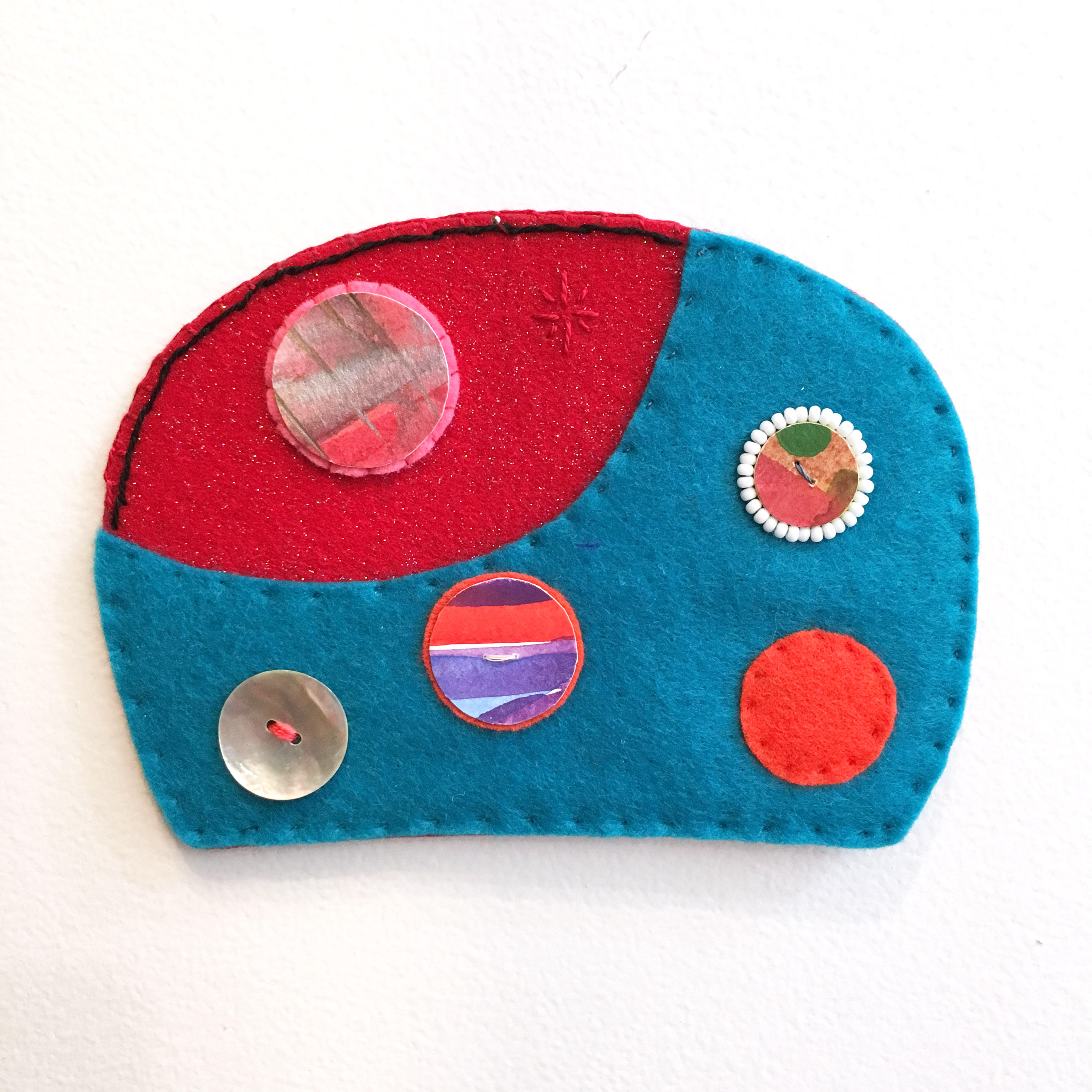 Ovoid Traces, Charlene Vickers (Anishinabe), Watercolour, paper, shell buttons, glass beads on felt with embroidery edges, $80