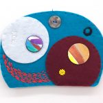 "Ovoid Traces (13), Charlene Vickers (Anishinabe), Watercolour, paper, shell buttons, glass beads on felt with embroidery edges, 6.5"" x 4.5"", $80"