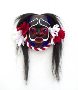 "Dzunukwis, 2018, Cole Speck (Kwakwaka'wakw), Red cedar, acrylic, cotton fabric, horsehair, 13"" x 18"" x 5"" (including hair), POR"