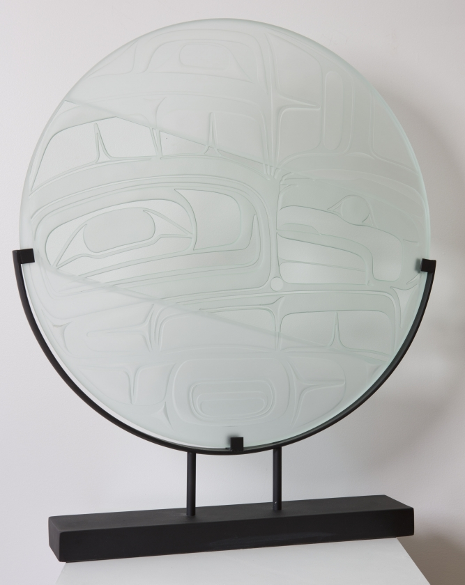 "Eagle Panel, Corey Bulpitt (Haida), Sandblasted Glass, 24"" round (not including stand), SOLD"