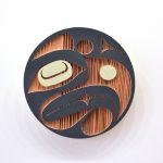 "Thunder Panel 1, Jazmine Mccrimmon-Cook (Kwakwaka'wakw), Sandblasted and painted red cedar, 12"" diameter, SOLD"