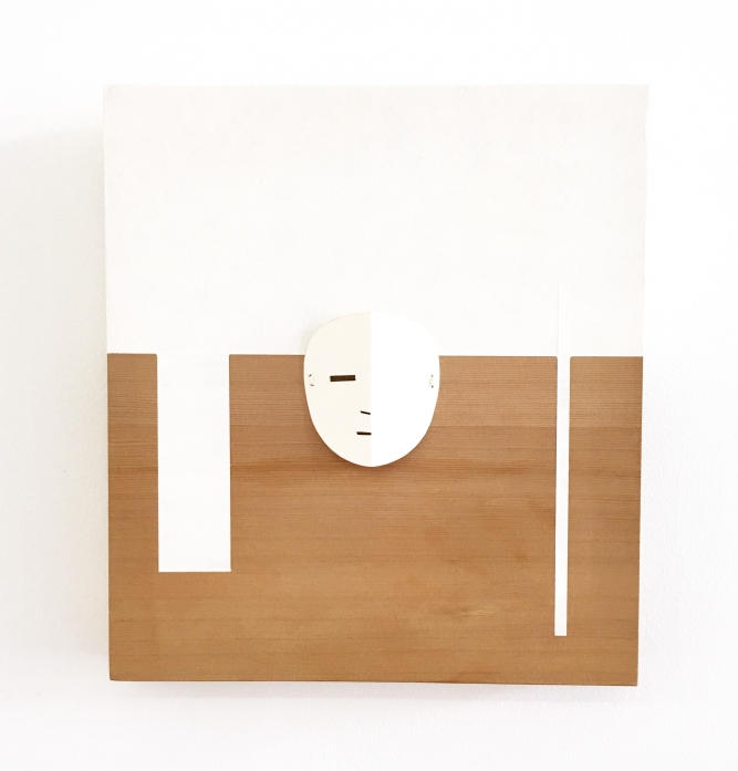 "Abstract Mask Panel 1, Mark Preston, Red cedar, acrylic, and hand-cut rag bond paper, 12"" x 10.5"" x 1.5"", SOLD"