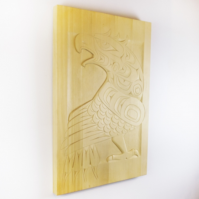 "Eagle Panel, Perry Lafortune (Salish), 24"" x 36"", Yellow cedar, $3,200"