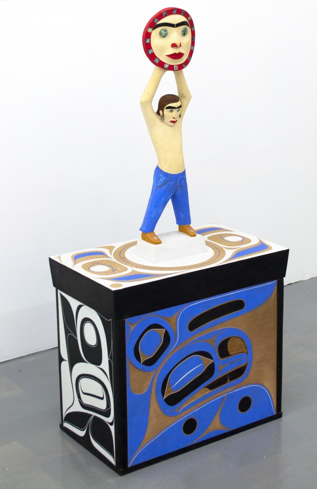 "Boy in the Sky, 2017, Rande Cook (Kwakwaka'wakw), Red cedar, acrylic, abalone shell, 51.5"" x 25"" x 14.5"", $19,500"