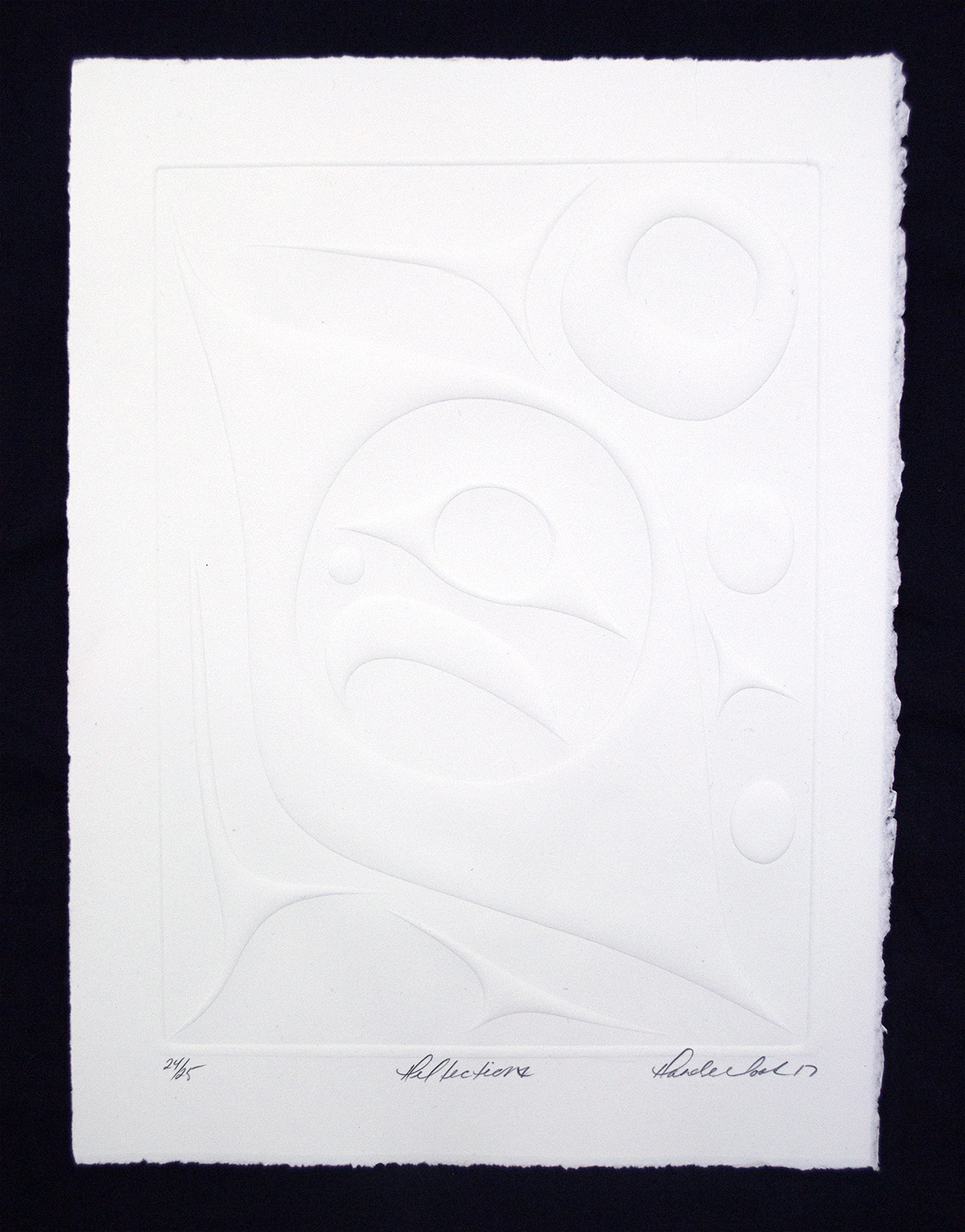 "Reflections, 2017, Rande Cook (Kwakwaka'wakw), Embossed paper, 15"" x 11"", ed. /25, 3 available, $300 unframed"