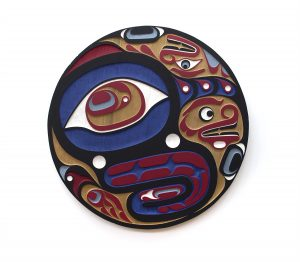 "Mosquito Panel, 2017, Trevor Hunt (Kwakwaka'wakw), Sandblasted red cedar and acrylic, 36"" diameter x 1.75"", $4,500"