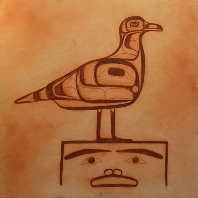 Fig. 1.0, Corey Bulpitt (Haida), Acrylic and gesso on wood panels, 3ft x 3ft, $2,200