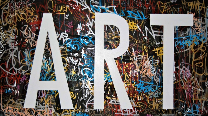 "This Is Not Art, Corey Bulpitt (Haida), Spray paint on canvas, 67"" x 117"", SOLD"