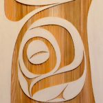 "Modern Worlds II, Rande Cook, Sandblasted and painted red cedar, 24"" x 48"", SOLD"