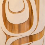 "Modern Worlds III, Rande Cook, Sandblasted and painted red cedar, 24"" x 48"", SOLD"