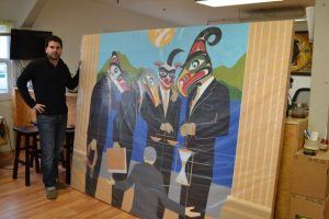 Rande Cook in his studio with Idle No More