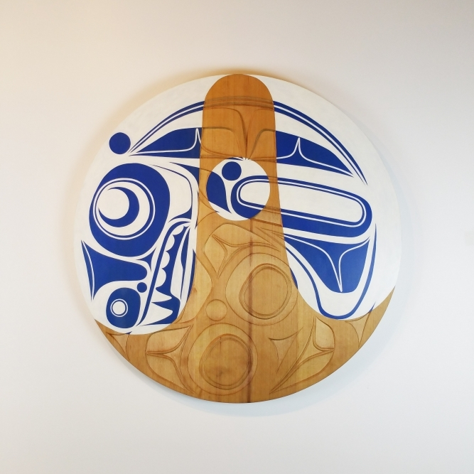"Killer Whale Panel, Corey Bulpitt (Haida), Red Cedar and acrylic, 36"" x 1 1/2"", SOLD"