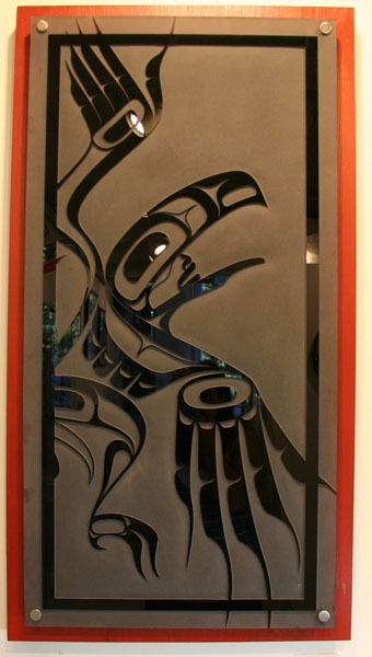 "Raven Dancer, Alano Edzerza, Sandblasted black glass on cedar, 48"" x 22"""