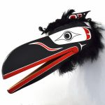 "Raven Mask, Alan Hunt (Kwakwaka'wakw), Red cedar, acrylic, feathers, faux fur, 29"" x 12"" x 15"", $3,800"