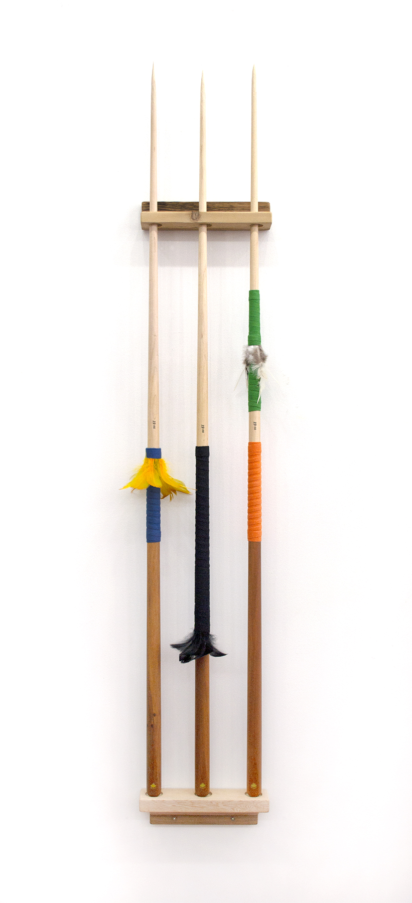 """Spears (3), 2018, Carlos Colín, Pool cues, feathers, wood, 57"""" x 10"""" x 2"""", SOLD"""