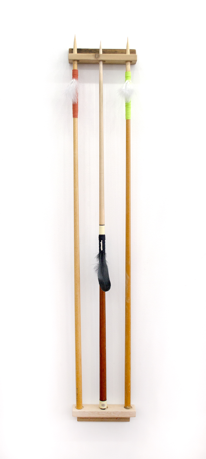 "Spears (4), 2018, Carlos Colín, Pool cues, feathers, wood, 57"" x 10"" x 2"", $1,800"