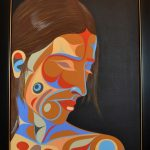 "Into The Night, Rande Cook (Kwakwaka'wakw), Acrylic on canvas, 22"" x 29"", SOLD"