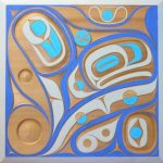 "When The Tides Meet Panel, Rande Cook (Kwakwaka'wakw), Hand carved red cedar and acrylic paint, 36"" x 36"", SOLD"