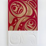 "And Native Land, 2018, Rande Cook (Kwakwaka'wakw), Red cedar, acrylic, 48"" x 30"" x 2"", $9,500"