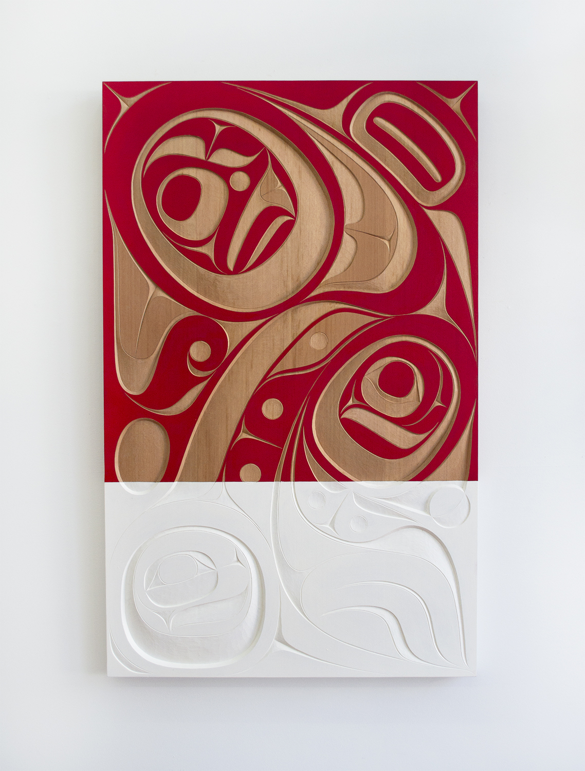 "And Native Land, 2018, Rande Cook (Kwakwaka'wakw), Red cedar, acrylic, 48"" x 30"" x 2"", SOLD"