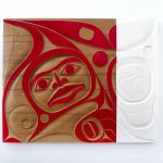 "Oh Kanada, Our Home and Native Land, 2017, Rande Cook (Kwakwaka'wakw), Red cedar and acrylic, 48"" x 60"", SOLD"