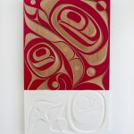 "Our Home, 2018, Rande Cook (Kwakwaka'wakw), Red cedar, acrylic, 48"" x 30"" x 2"", $9,500"