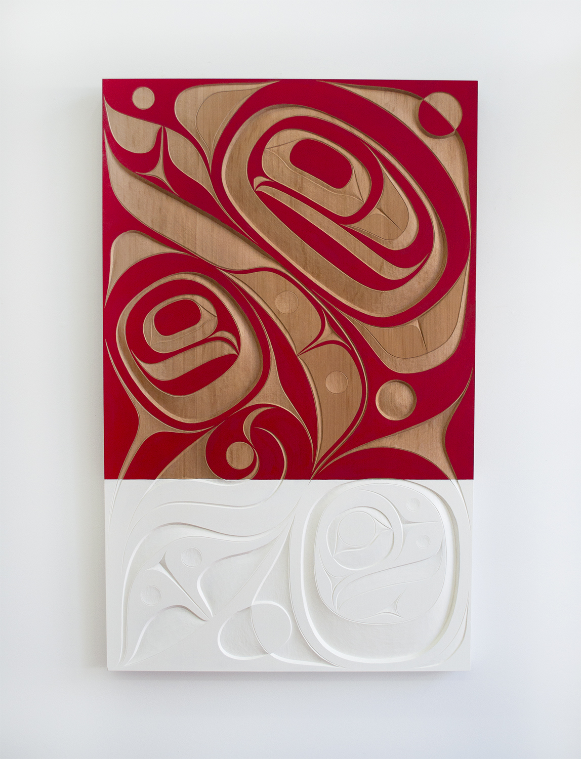 "Our Home, 2018, Rande Cook (Kwakwaka'wakw), Red cedar, acrylic, 48"" x 30"" x 2"", SOLD"