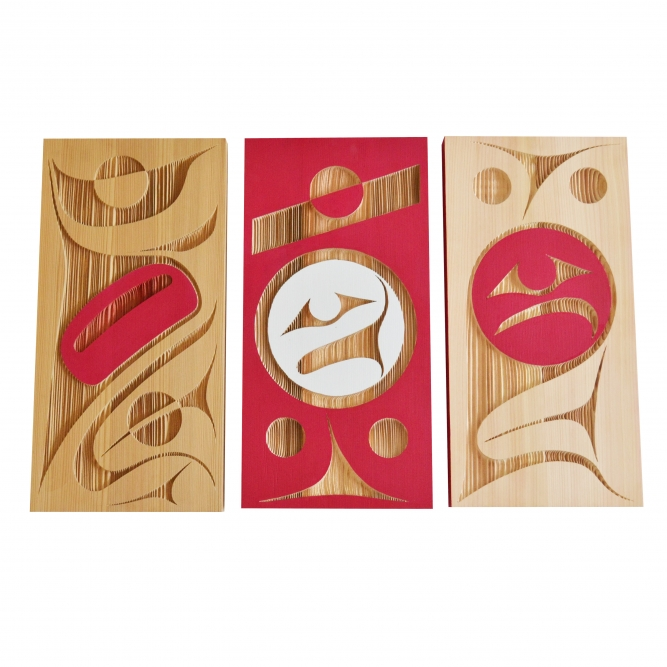 "Modern Twist (left), In the City (centre), I Love Vancouver (right, SOLD), Rande Cook (Kwakwaka'wakw), Sandblasted and painted red cedar, 12"" x 24 "" x 1.5"", $700 (each)"