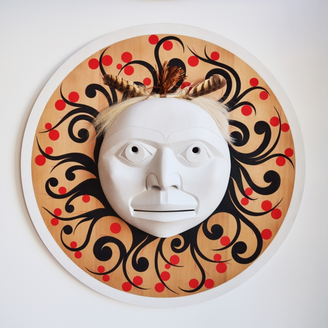 "Spirit of the Berries, Rande Cook (Kwakwaka'wakw), Red cedar, acrylic paint, horse hair, and feathers, 36"" diameter, SOLD"