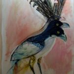 "Extinct Bird Series - Descartes #1, Rosa Quintana Lillo, Mixed media and acrylics on canvas, 36"" x 70"", $2,800"