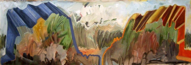 "Graffiti Scape #1, Rosa Quintana Lillo, Mixed media acrylics on canvas board, 24"" x 70"" x 1 ½"", SOLD"