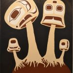 Mushrooms, Cole Speck (Kwakwaka'wakw), Acrylic & phosphorous paint on canvas, 3' x 4', $2,400