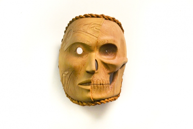 "My Brother Reanimated Mask, Phil Gray (Tsimshian), Red cedar and cedar bark rope, 15"" x 12"" x 11"", SOLD"
