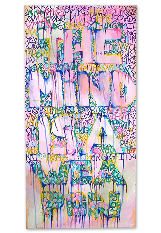 "The Mind Is A Weapon, Olliemoonsta, Acrylic on canvas, 36"" x 18"", $700"