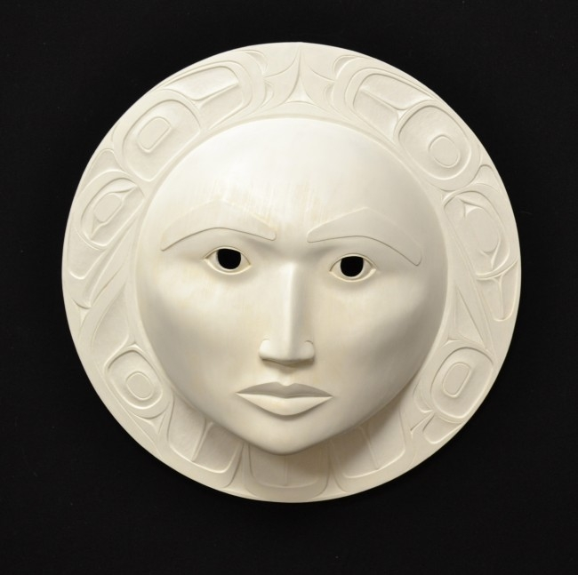 "Female Moon Mask, Phil Gray (Tsimshian), 15"" x 15"" x 5"", SOLD"