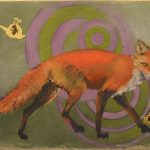 "The Moth, The Meadow Pipit and The Red Fox #3, Rosa Quintana Lillo, Gold leaf and mixed media acrylics on canvas on board, 22 ½"" x 15 ½"" x 1 ¾"", $550"